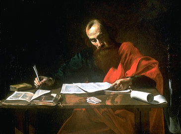 St. Paul writes his Epistles, by Valentin de Boulogne or Nicolas Tournier