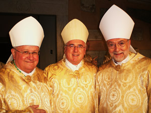 Three of the four CCCB delegates: (from left to right) Bishop Raymond St-Gelais, Archbishop Terrence Prendergast, S.J., and Bishop Luc Bouchard