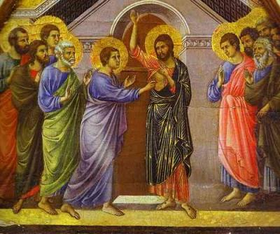 Doubting Thomas touches the wound in Christ's side, by Duccio