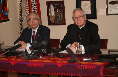 National Chief Phil Fontaine and Archbishop James Weisgerber at an April 15th press conference in Ottawa.