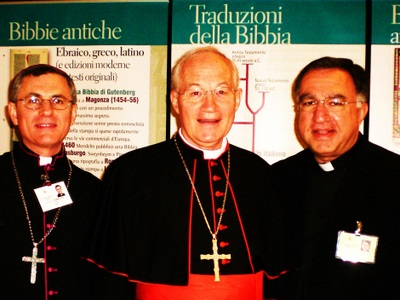 Bishop Ronald Fabbro, CSB, CCCB Delegate to 2008 Synod, Cardinal Marc Ouellet, General Relator of the Synod of Bishops on the Word of God; Fr. Thomas Rosica, CSB, English Language Media Attaché of Synod.