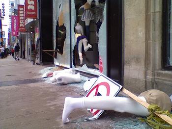 Rioter damage on Yonge Street