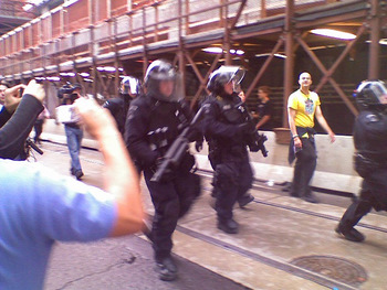 Armed riot police