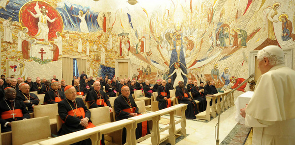 POPE BENEDICT SPEAKS TO PRELATES DUrING RETREAT AT VATICAN