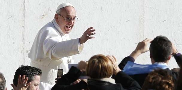 Pope Francis greets people before celebrating inaugural Mass in St. Peter's Square at Vatican