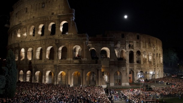 The Way of the Cross at the Colosseum in Rome in 2012 (CNS photo/Paul Haring)