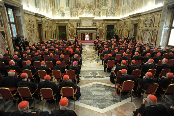 Pope Francis meets with College of Cardinals in Vatican's Clementine Hall