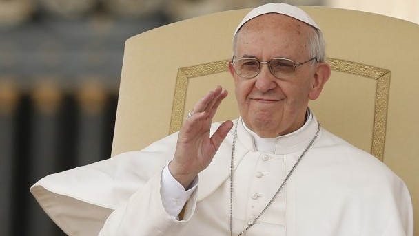 Pope acknowledges pilgrims as he leads general audience at Vatican