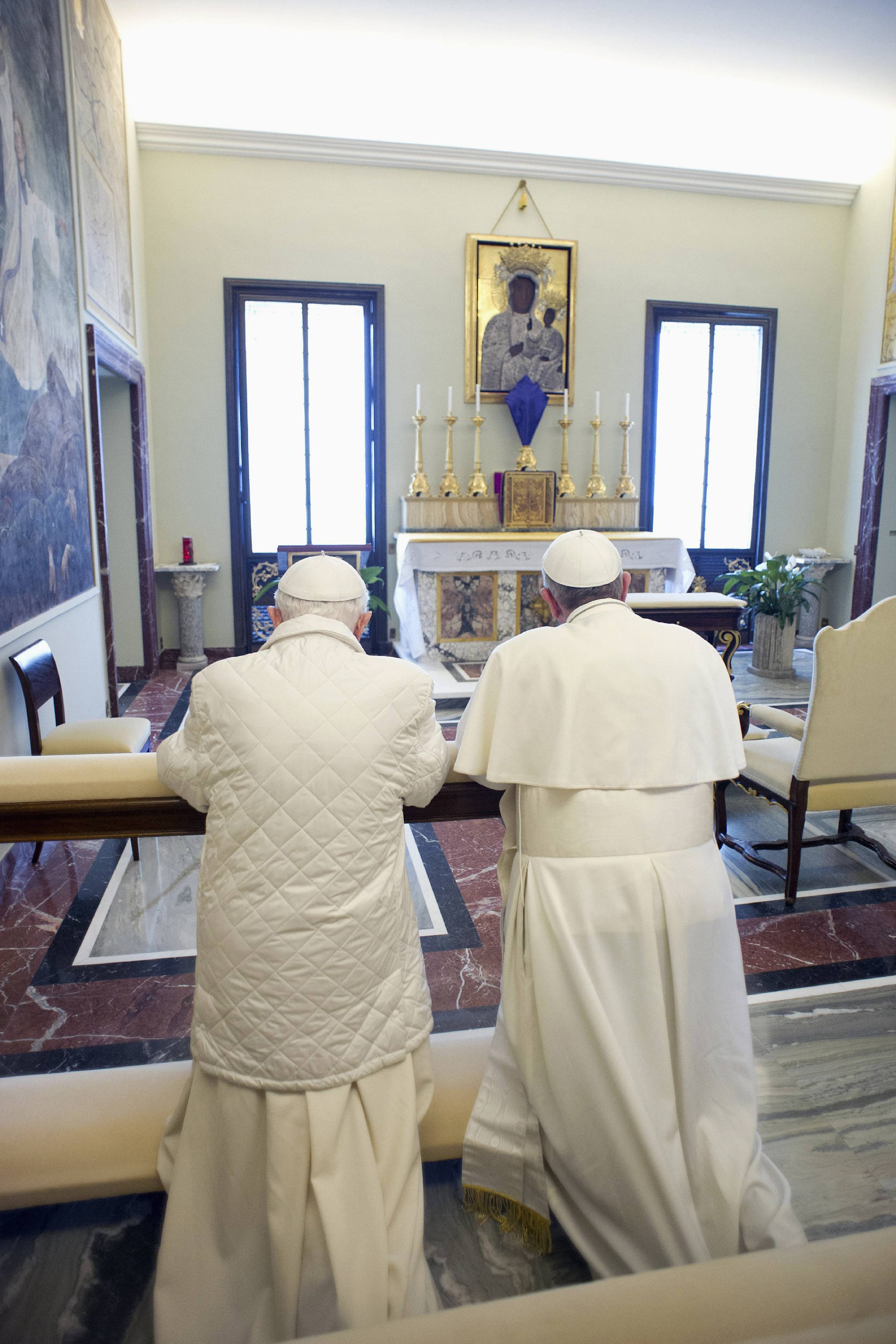 Pope Francis prays with<br /> retired<br /><br /><br /><br /> Pope Benedict XVI at papal summer residence in Castel Gandolfo
