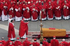 CARDINAL RATZINGER BLESSES CASKET OF POPE JOHN PAUL II