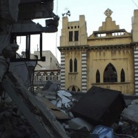 Damaged Syriac Catholic Church pictured in Syria