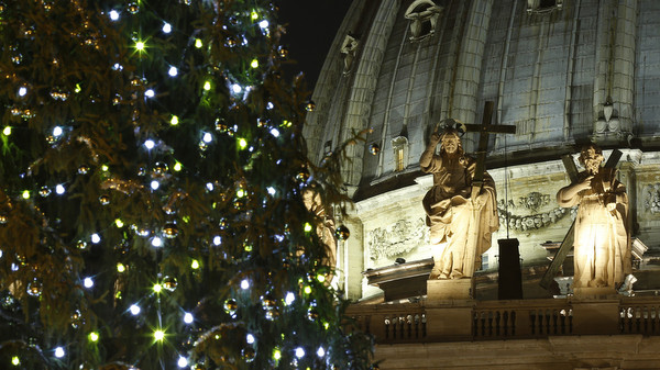 Christmas tree glows in St. Peter's Square after lighting ceremony at Vatican