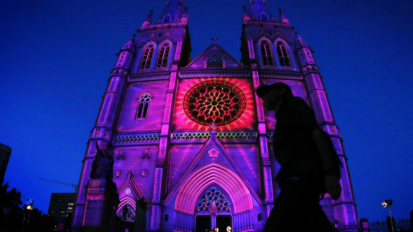 CATHEDRAL ILLUMINATED  FOR CHRISTMAS IN SYDNEY