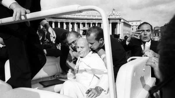 POPE JOHN PAUL II SEEN AFTER BEING SHOT IN ST. PETER'S SQUARE IN 1981