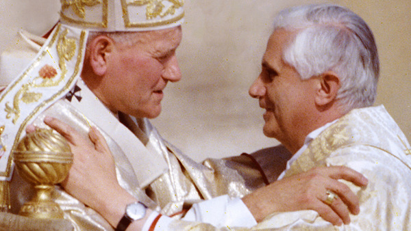 POPE GREETS CARDINAL JOSEPH RATZINGER