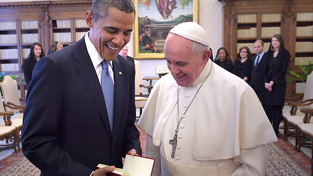 Obama with Pope Francis