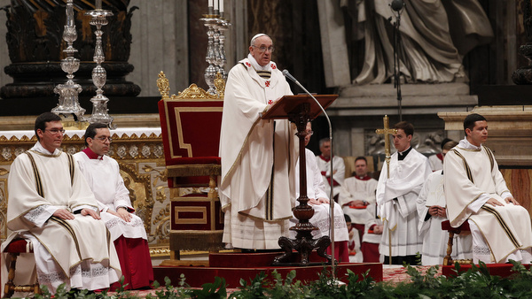 Pope Francis gives homily during Holy Thursday chrism Mass at Vatican