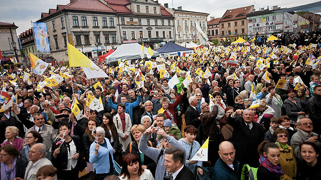 People in Wadowice, Poland, St. John Paul II's hometown