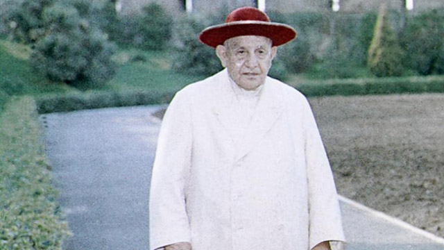 Pope John XXIII walking through the gardens