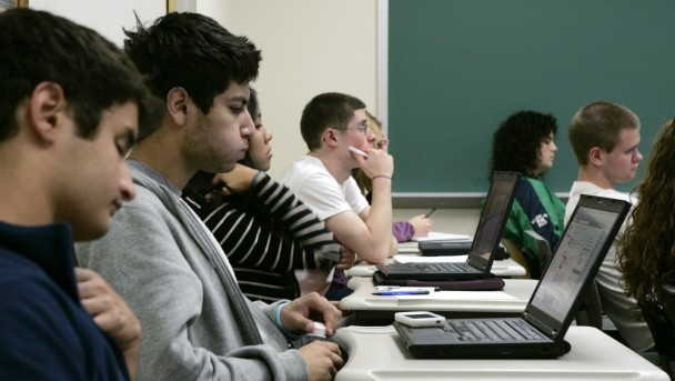 STUDENTS ATTEND CLASS AT SETON HALL UNIVERSITY IN NEW JERSEY