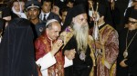 Pope Paul VI and Ecumenical Patriarch Athenagoras attend prayer service in Jerusalem in January 1964