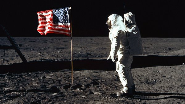 1969 PHOTO OF ASTRONAUT ALDRIN NEXT TO U.S. FLAG ON MOON