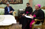 Cardinal-designate Pietro Parolin, Vatican secretary of state, meets with U.S. counterpoint, John Kerry, at Vatican