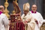 Pope Francis greets Armenian Catholic Patriarch Nerses Bedros XIX Tarmouni during Mass marking 100th anniversary of Armenian genocide