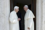 Retired Pope Benedict XVI talks with Pope Francis during a meeting at the Vatican June 30. (CNS photo/L'Osservatore Romano via Reuters ) See SUMMER-POPES June 30, 2015.