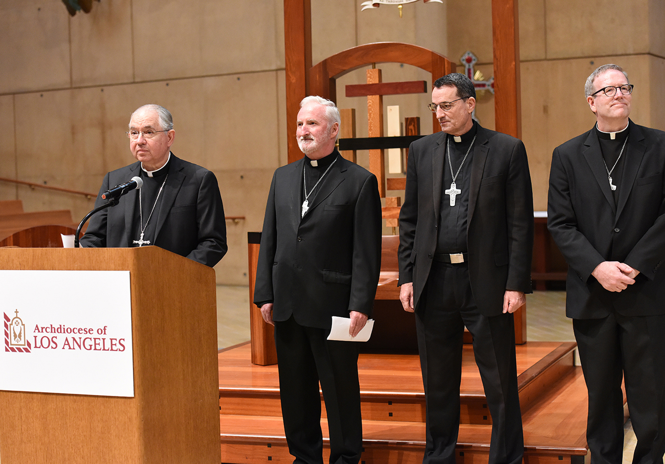 Los Angeles Archbishop Jose H. Gomez introduces Msgr. David G. O'Connell, Msgr. Joseph V. Brennan and Father Robert Barron July 21 at the Cathedral of Our Lady of the Angels in Los Angeles. The three priests will serve as auxiliary bishops of the largest archdiocese in the United States in terms of Catholic population. (CNS photo/Tamara Tirado, The Tidings?) See BISHOPS-LA (UPDATED) July 21, 2015.