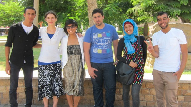 Donata Ling (third from left) in Egypt, after studying at Hebrew U, with friends.