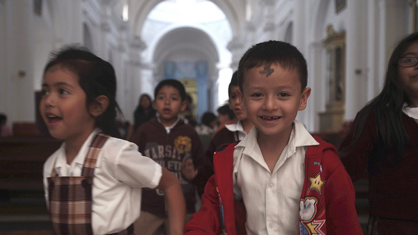 Children church after Ash Wednesday Mass in Guatemala City