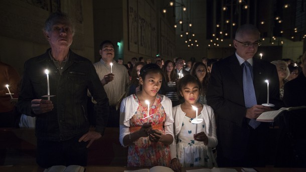 Worshippers attend Easter Vigil service at Los Angeles cathedral