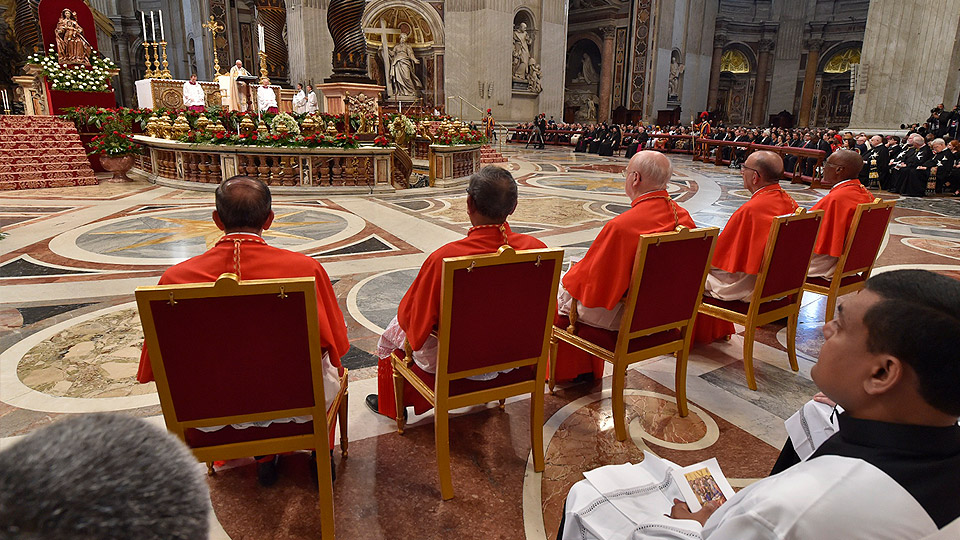 Pope Francis gives the homily during the consistory creating five new cardinals.