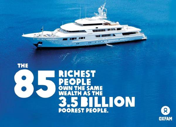 85 of the world's richest people have the same wealth as 3.5 billion of the poorest.