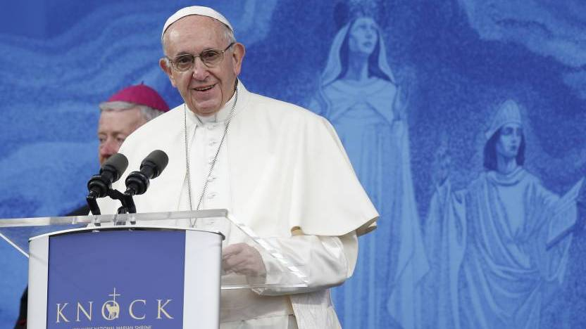 Pope Francis gives his Angelus address at the shrine of Knock in Ireland