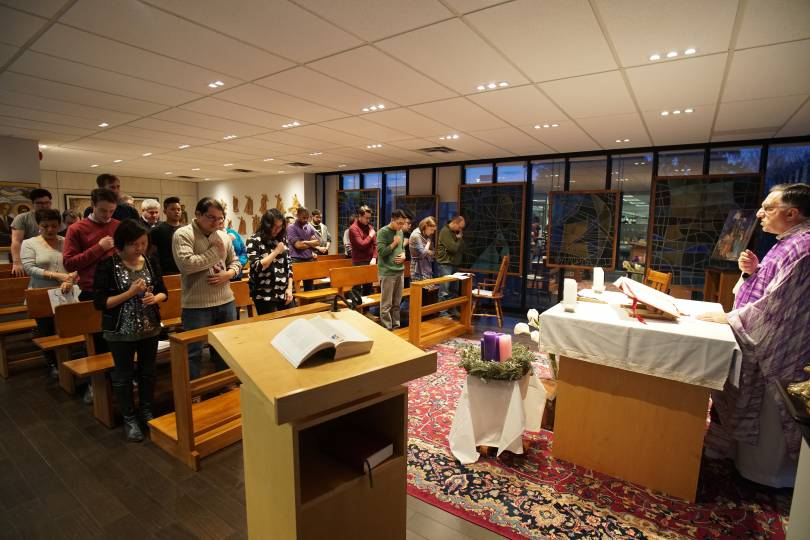 Praying the Confiteor in the Salt+Light chapel