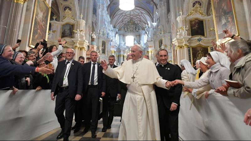 Pope Francis speaks to priests and religious in Kaunas, Lithuania