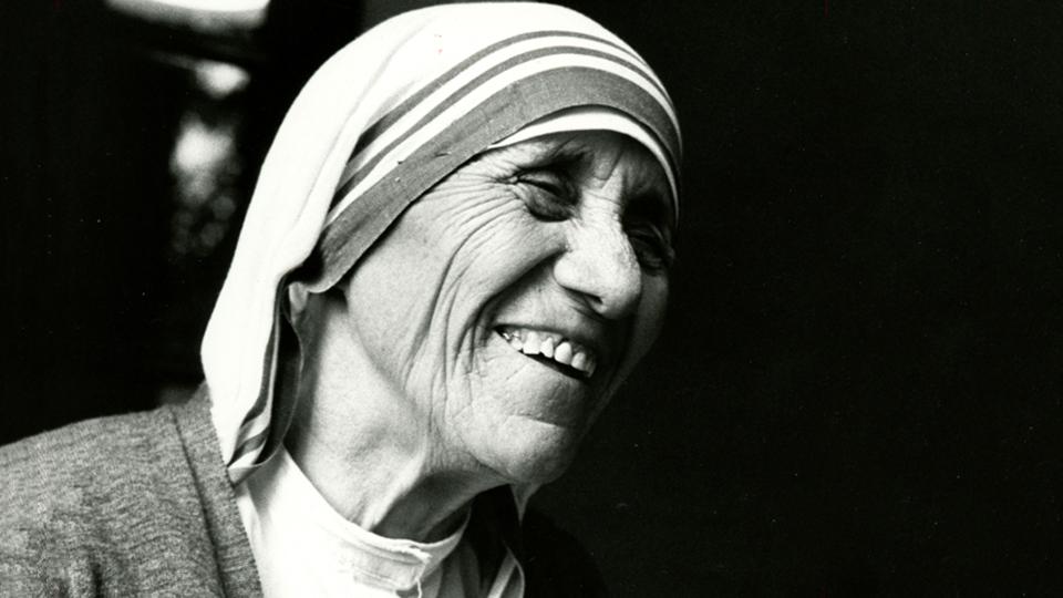 Black and white portrait of St. Teresa of Kolkata