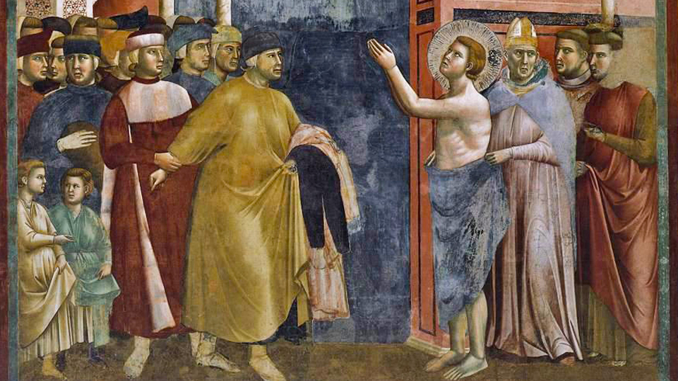 Fresco of St. Francis renouncing his wealth
