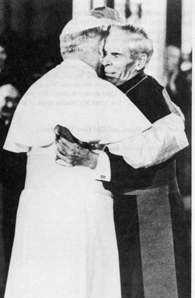Archbishop Fulton Sheen and Pope John Paul II meeting at St. Patrick's Cathedral in New York, October 2, 1979