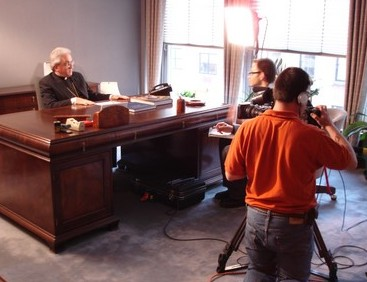 Kris interviews His Excellency, Archbishop Migliore, while Wally films