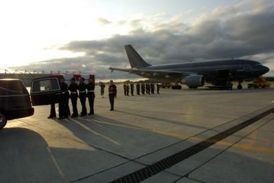 Private Cushley's Repatriation Ceremony at CFB Trenton. Courtesy DND