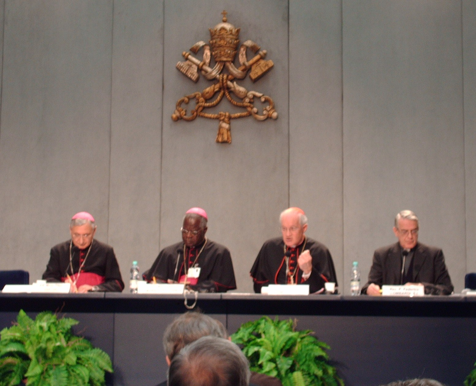 Vatican press conference: Bishop Filippo Santoro, Archbishop Laurent Monsengwo Pasinya, Cardinal Marc Ouellet, P.S.S., and Fr. Federico Lombardi, S.I.