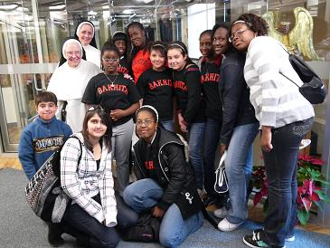 Students from St. Josephine Bakhita Catholic School in Brampton, Ontario with two of the Dominican Sisters of St. Cecilia