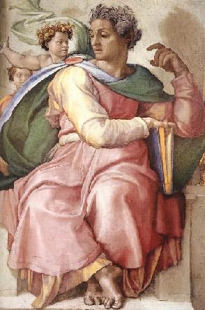 Isiaiah detail from Sistine Chapel, Michelangelo, 1509