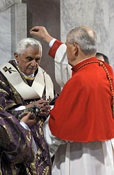 POPE BENEDICT RECEIVES ASHES DURING MASS AT ROME BASILICA