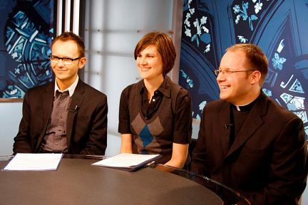 Kris Dmytrenko, Gillian Kantor and Fr. Chris Valka, CSB