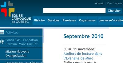 Quebec Bishops website