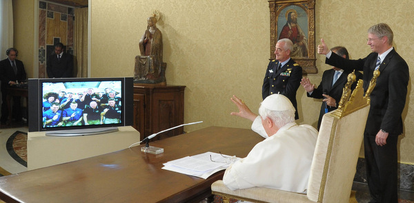 POPE WAVES TO ASTRONAUTS AFTER SPEAKING WITH THEM VIA VIDEO LINK FROM VATICAN